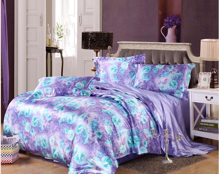 7pcs Blue Purple Floral Bedding Set Cal King Size Silk