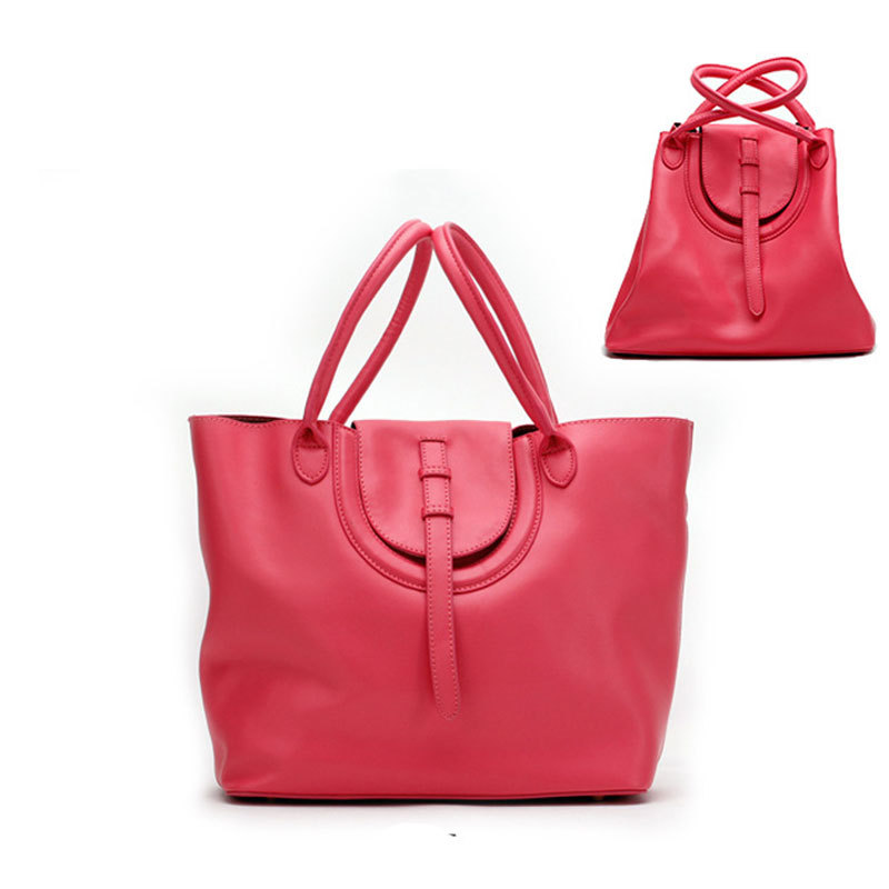 a629eb95d Get Quotations · Women Soft Real Leather Small Twin Handles Belt Magnetic  Snap Zip Shopper Tote Bag