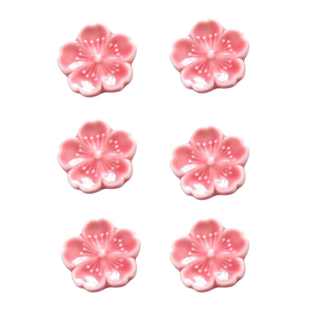 CHOOLD Elegant Cherry Blossom Ceramic Chopsticks Rest Rack Dinner Spoon Stand Knife Fork Holder,Sakura Chopsticks Stand(Set of 6)