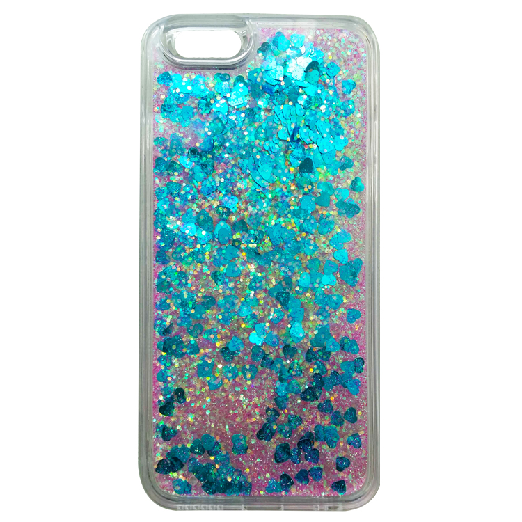 sanlead PC+TPU pink and blue glitter cell phone cover for iphone