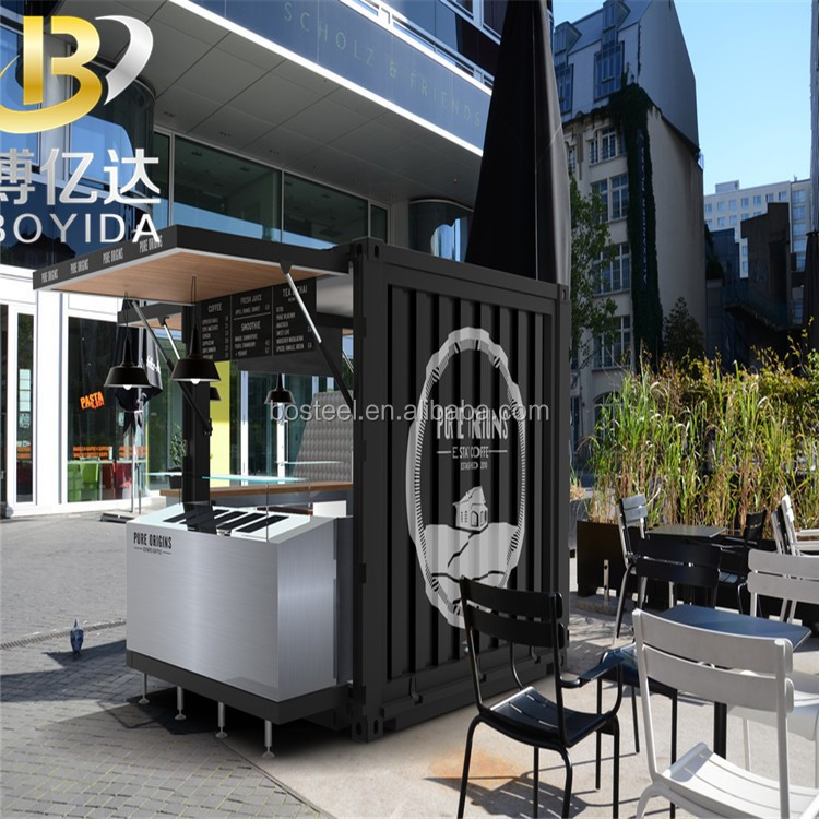 movable outdoor coffee kiosk shop modular coffee house 20ft prefabricated