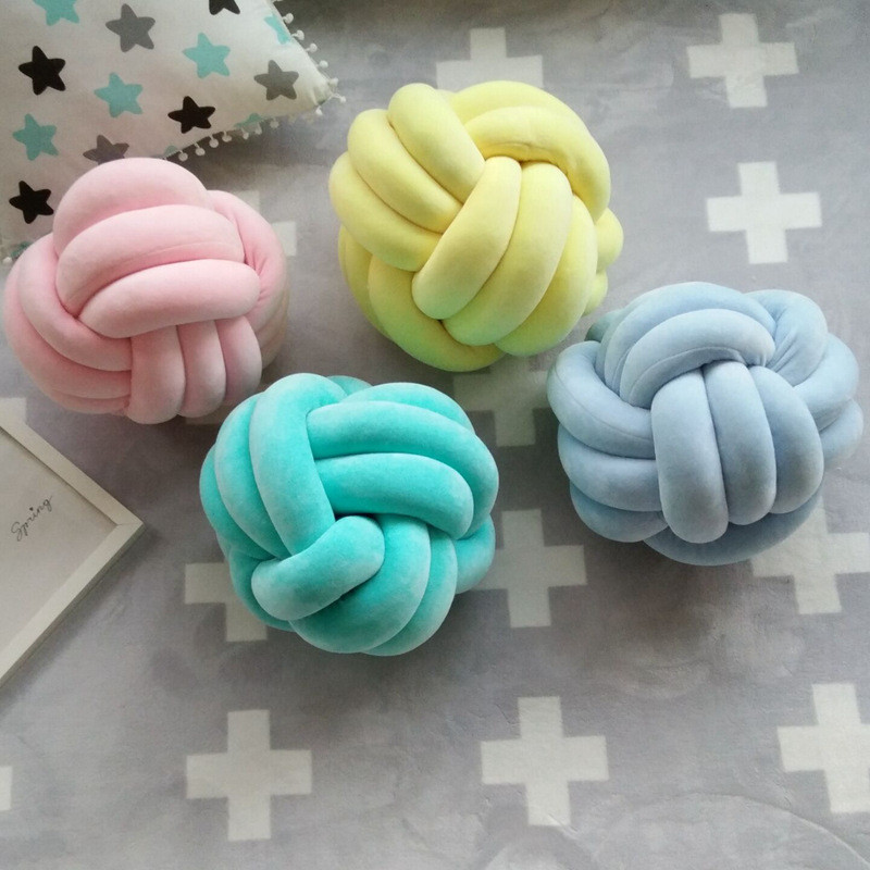 New Design Model Plush Tie Cotton Pillow Cushion Knotted Ball Shaped Soft Pillow