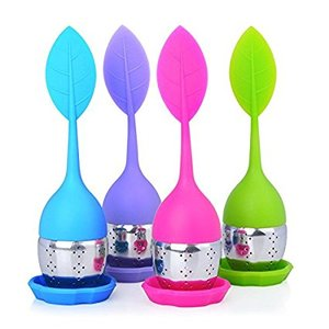 Green Colorful Leaf Silicone Strainer Metal Silicone Tea Filter With Drip Tray