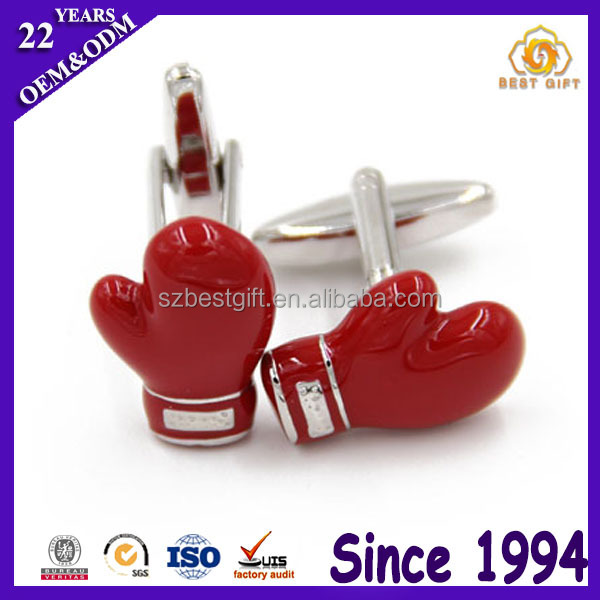 Children Day Plastic Gloves Stainless Metal Cufflinks