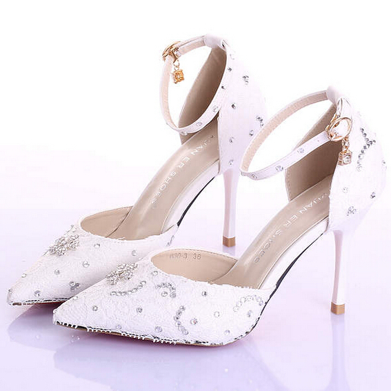 babba1bc199 Get Quotations · 2015 White Red Elegant Lace Summer Ladies Wedding Shoes  Ultra High Heels Thin Heels Women