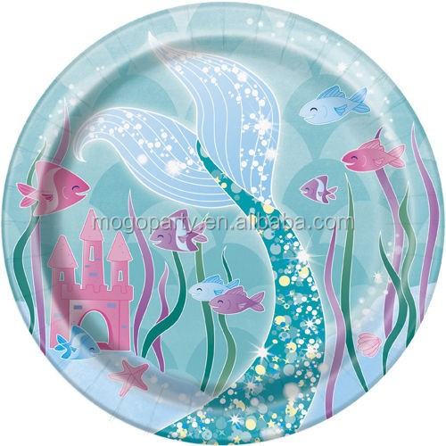 MERMAID SMALL PAPER PLATES ~ Birthday Party Supplies Cake Dessert Beach Sea