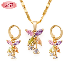 2018 new fashion jewelry, 금 plated earring 및 펜 던 트 necklace wedding jewelry set 와 cubic 지르코니아 design 대 한 woman