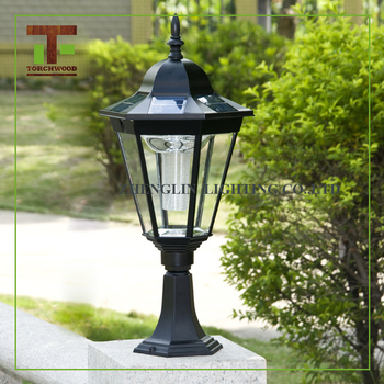European Style Garden Lamp Aluminum Fence Post Solar Hexagonal Park Garden  Pillar Light