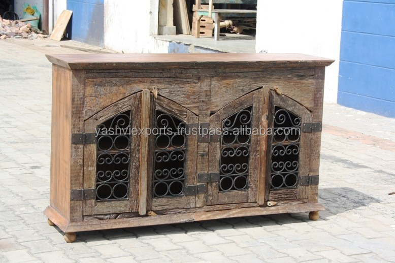 OLD WOODEN BUFFET SIDEBOARD