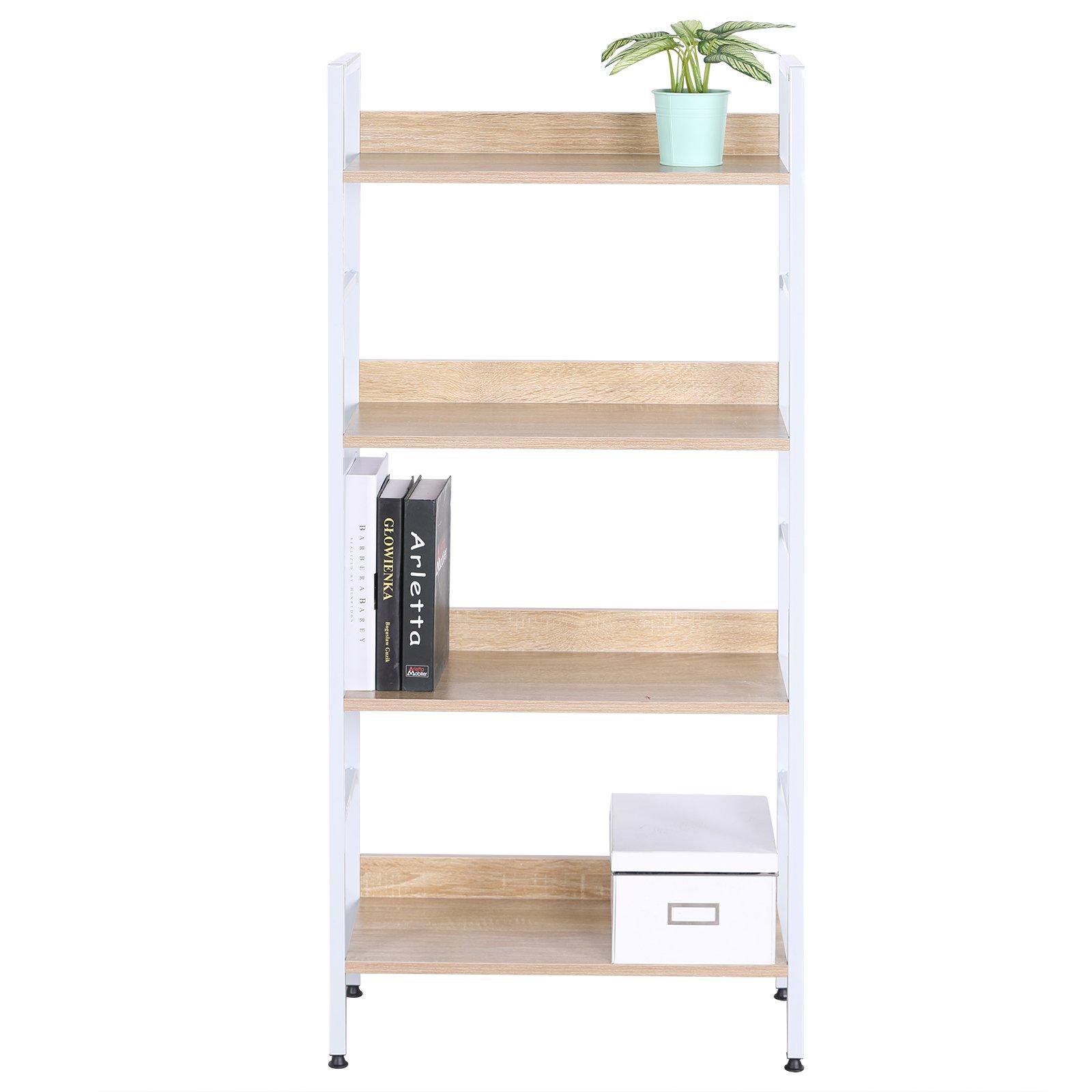 Get Quotations · WOLTU 4 Shelf Shelving Unit Wood Bookcase Shelf Garage Storage  Shelf Units White
