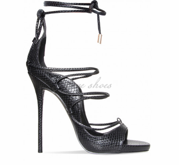 bdca20e80cf Fancy Girls Women Black Snake Lace Up High Heels Shoes Sandals - Buy ...
