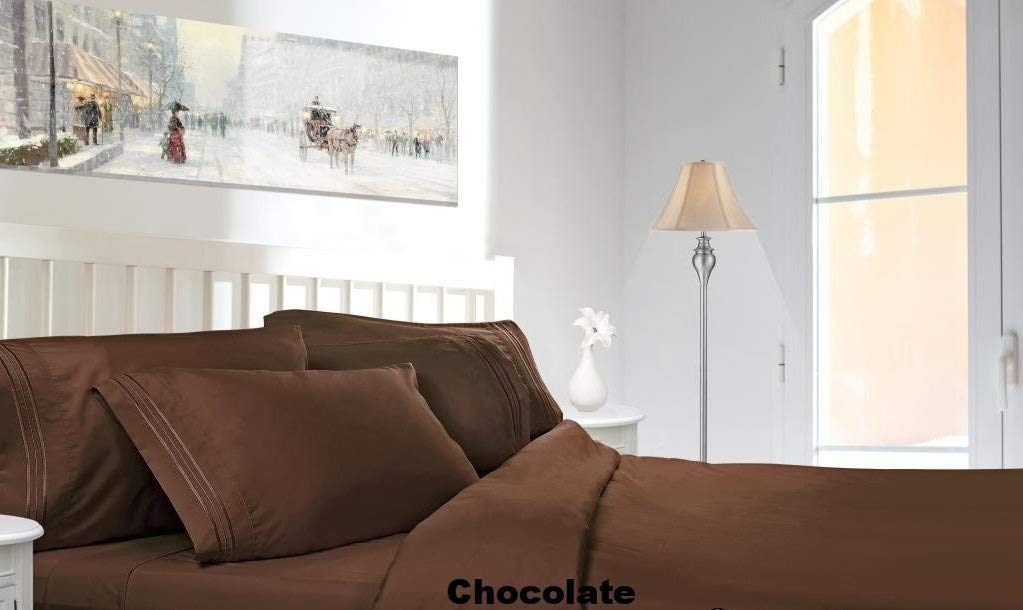 1500 Thread Count Egyptian Quality Bed Sheet Set-Queen-Chocolate Brown-Deep Pocket-4Pc