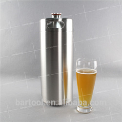 2L Single wall stainless steel beer growler with handle