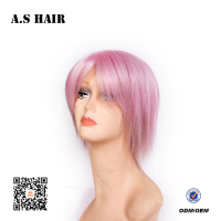Factory Direct Price Short Synthetic Cosplay Hair Wig Silky Straight Hair Full Lace Front Hair Wig with Pink Color
