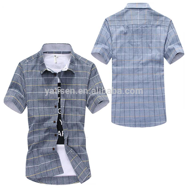 OEM new design custom Mens casual plaid shirts short sleeve 100% cotton plaid men shirts