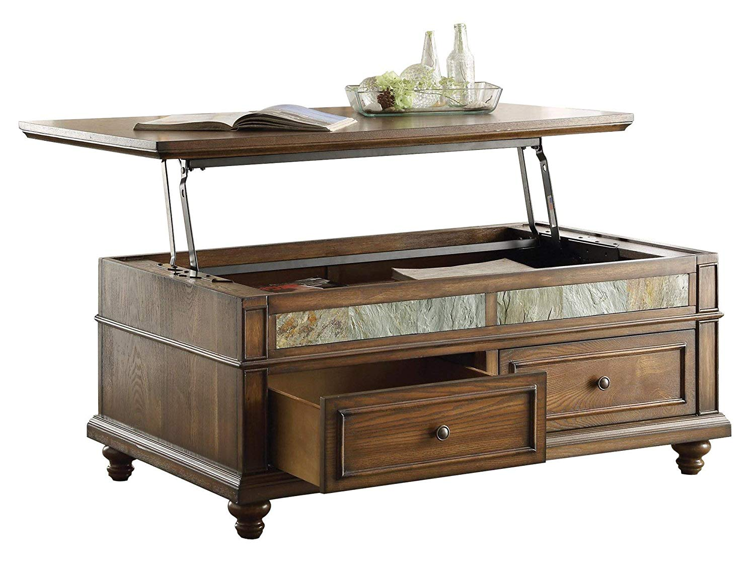 Caffey Craftsman Lift Top Cocktail Table on Casters in Brown Cherry