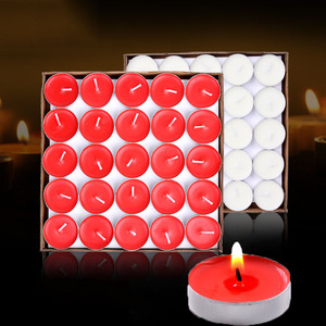 50pcs /box Smokeless candle tea put the circular paraffin candles red purple white pink blue candles tea wax 7g
