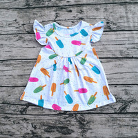 2017Yiying Latest Designs Photos Baby Frock Designs Pictures Girls Pearl Dress With Popsicle Printed Dresses