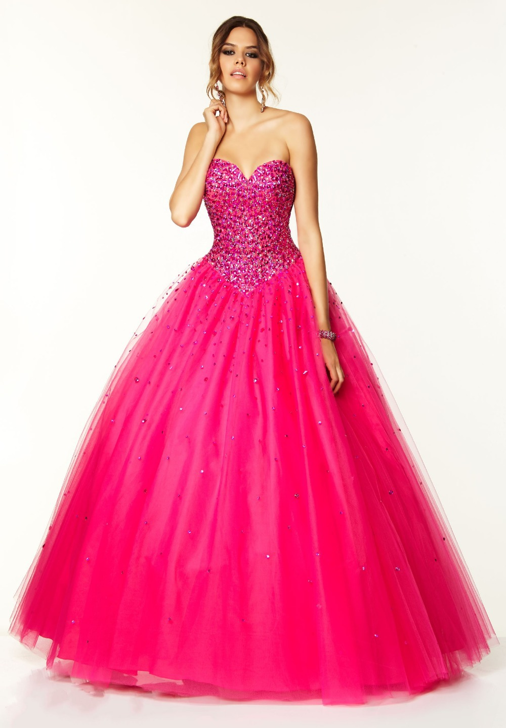 Ball gown prom dresses 2014 - Get Quotations Abendkleider Long 2014 Crystal Hot Pink Prom Dress 2014 Vestido De Formatura Long Elegant Prom Dresses