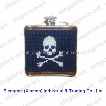 5 oz Skull navy needlepoint flask