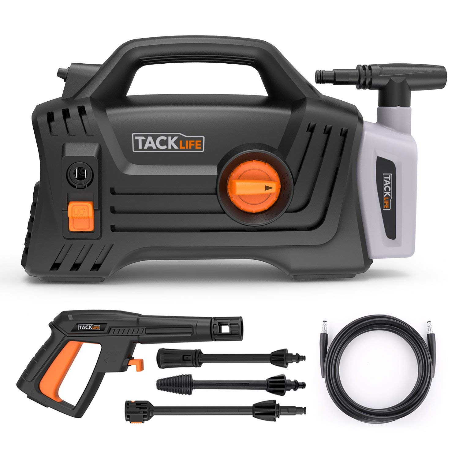 Pressure Washer, High Efficiency 1600 PSI 1.72 GPM 1400W Electric Power Washer, Lightweight and Easy to Carry with 3 Spray Wand, High pressure cleaning Car, Patio, Wall, Furniture, Barbecues and More