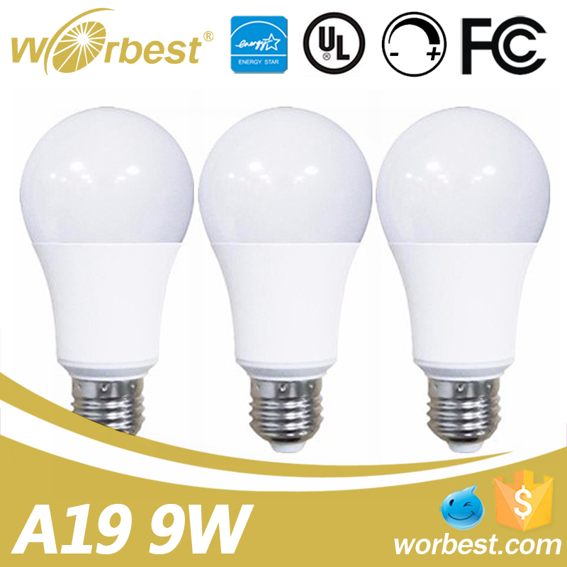Dimmable 2700k warm white household led light bulbs 9w equal 60w incandescent lamp for home use
