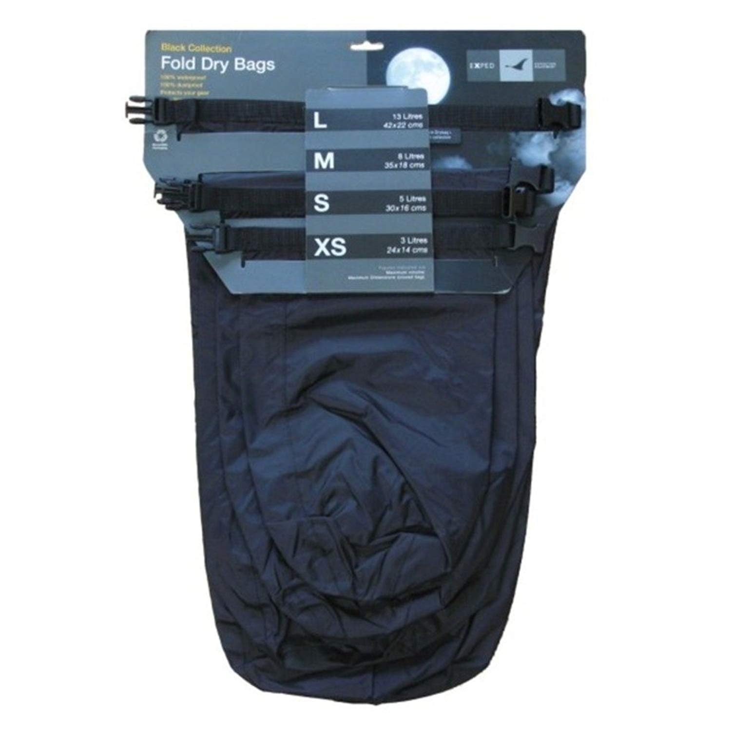 EXPED 100/% Waterproof Fold Dry Bag Bright Blue 13 Litre Large
