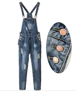 EY0404A Full Length Pinafore Dungaree Overall Baggy Denim pattern jumpsuit women