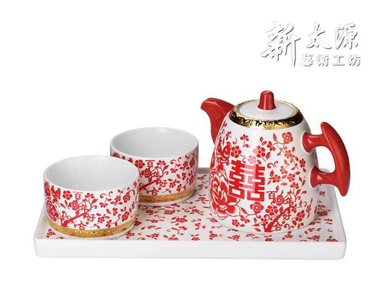 Shin Tai Yuan, Forever Love Series, Gold plated surrond the porcelain tea cup with plate