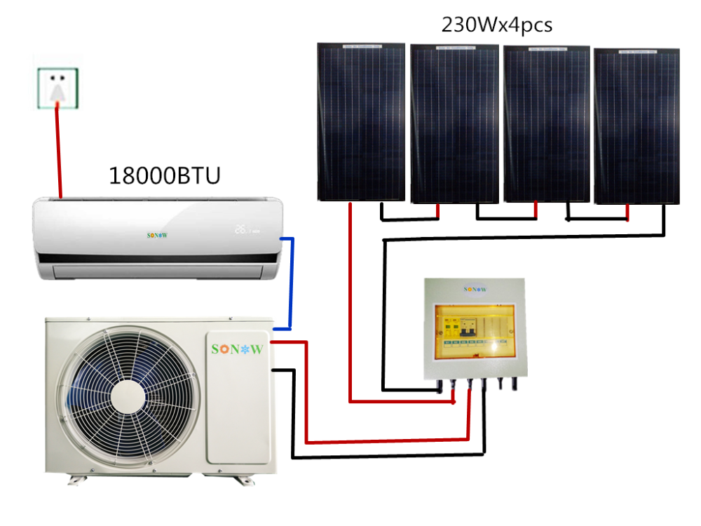 Smart Home Solar Inverter Split Air Conditioner 18000btu