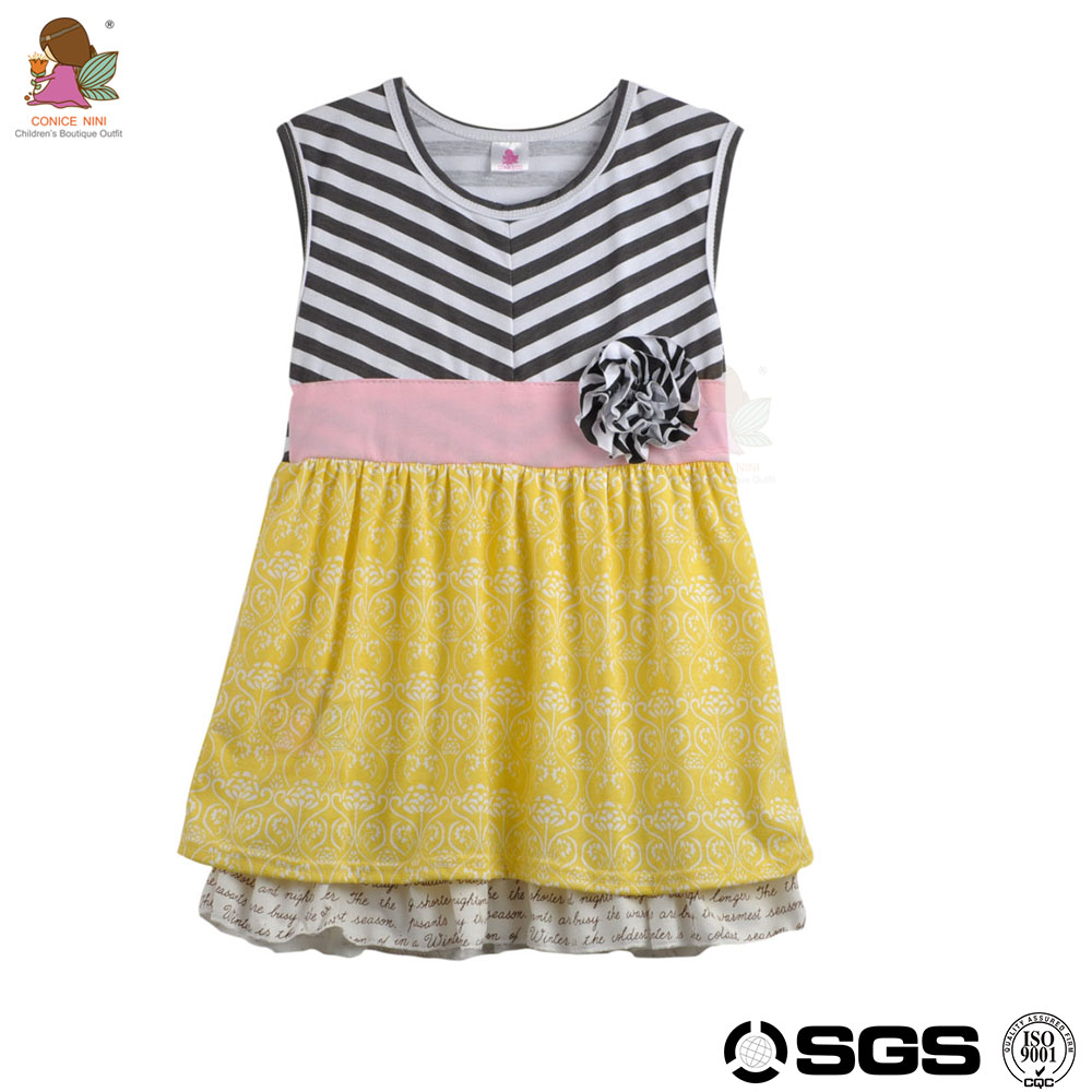 Conice nini brand high quality stripe applique boutique outfits child girl baby daily dress