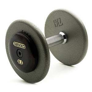 Ivanko Pro-Style Machined Hammertone Grey Plate Dumbbell Set with Forged Steel Black Oxide End Caps - 55-100 lb. Set