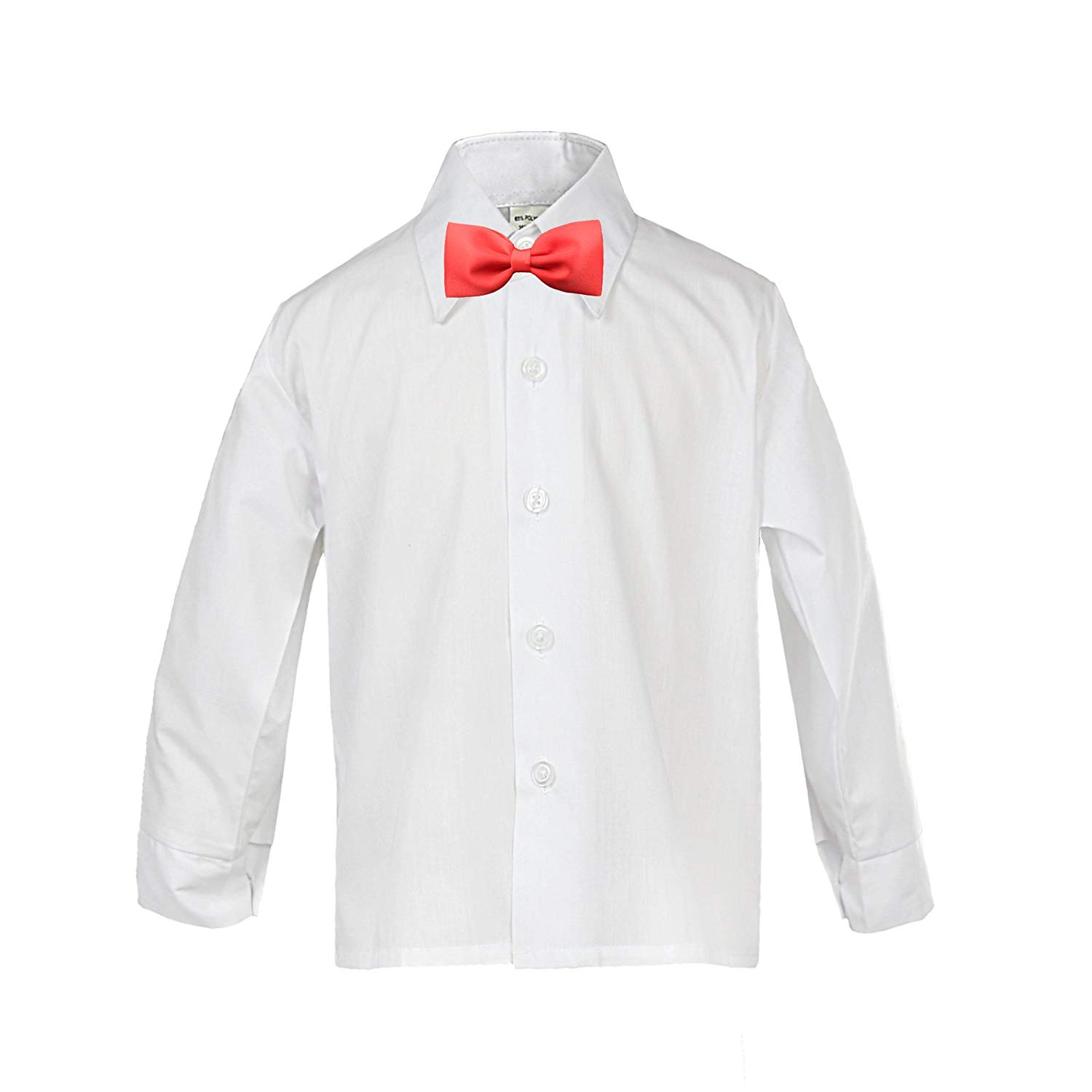 e75c0c6479d3 Get Quotations · Baby Boy Kid Formal Tuxedo Suit Button White Dress Shirt  Color Red Bow tie Sm-