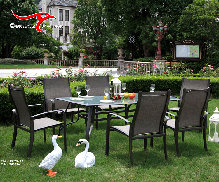 Tempered Glass Textilener / Sling Aluminum Garden Furniture Patio Terrace Outdoor Dining Table and Chairs Set