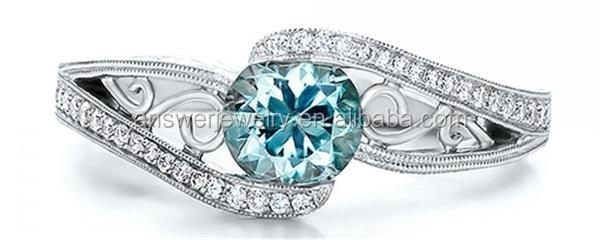Shiny Aquamarine Filigree Fancy Gold Ring Designs Models