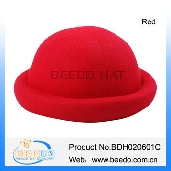 Funky Womens Pandoras Wool Felt Red Bowler Hat With Unpurned Brim ... aba0bf5fd37a