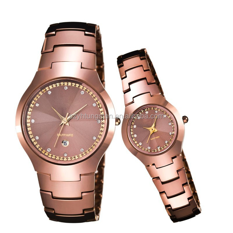 2014 Wholesale fashion tungsten jewelry,18k rose gold couple watch