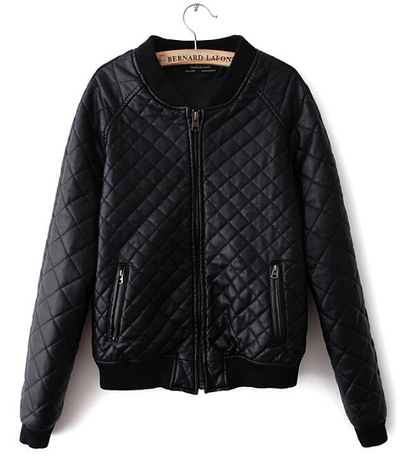 New Women's Plaid Coats round neck leather jackets stitching jacket Quilted outerwear