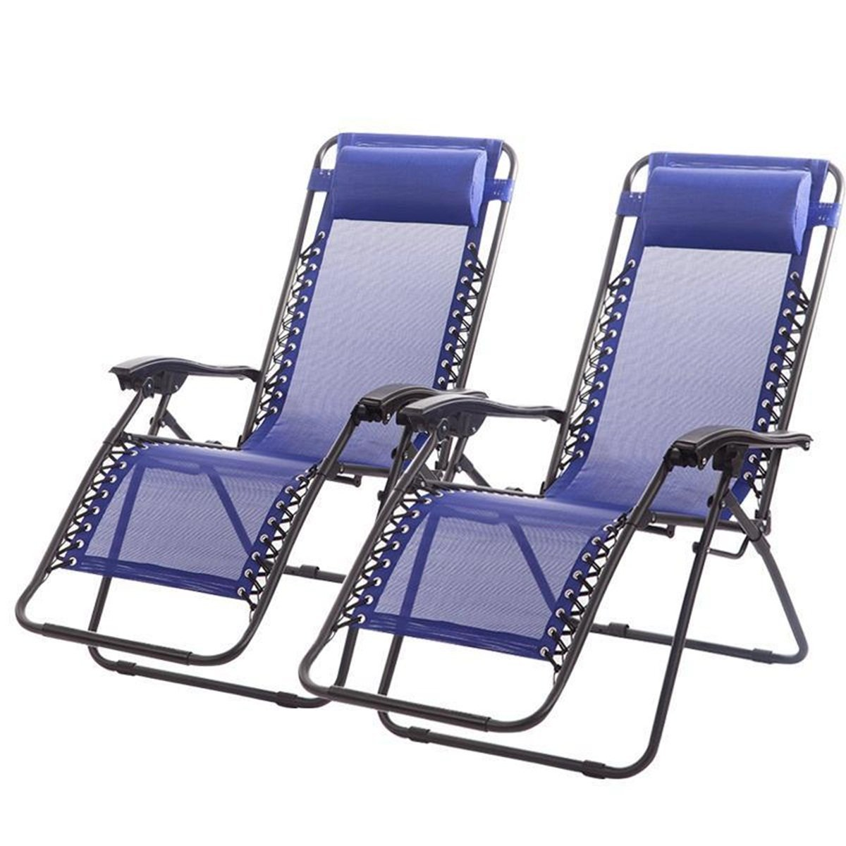 New Premium Zero Gravity Recliner Case Of 2 Lounge Patio Chairs Camping Beach Pool