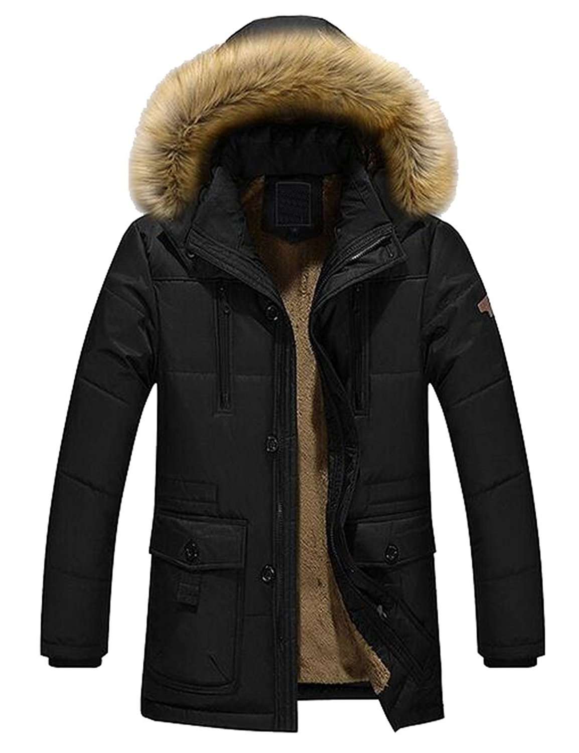 SHOWNO Mens Faux Fur Hooded Thicken Fleece Fall /& Winter Mid Length Quilted Jacket Coat Outerwear