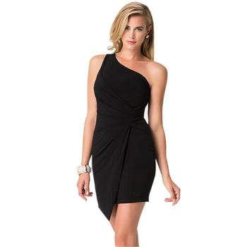 Single Shoulder Strap Folds Ladies Hip Sexy Mini Party One Piece Dress Evening