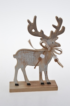 rustic wooden reindeer free standing christmas decoration ornament - Wooden Deer Christmas Decorations