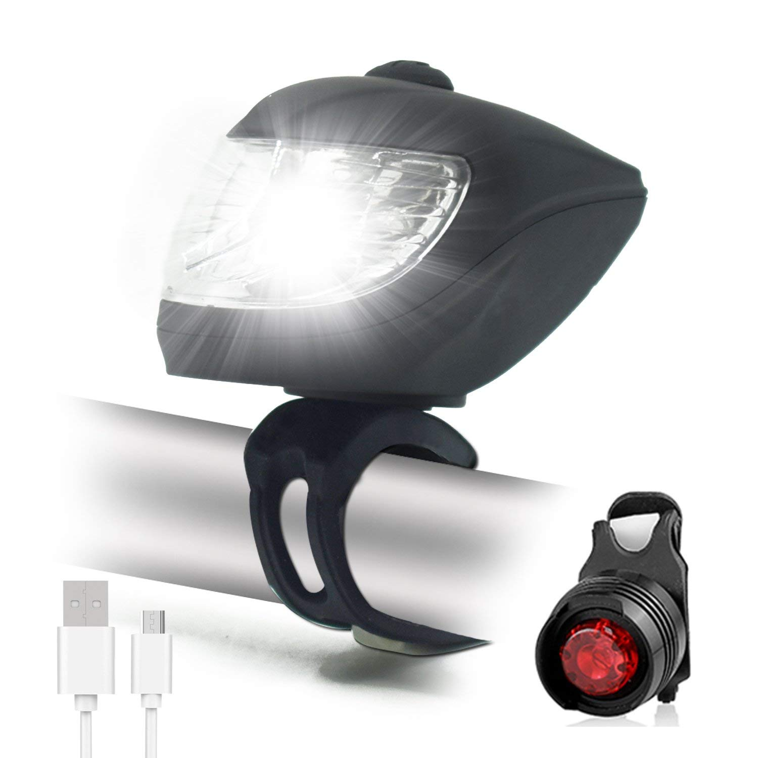 cdacd3bee8b Get Quotations · WasaFire Bike Light Set Super Bright 500 Lumen Front Light  and Free Rear LED Bicycle Light