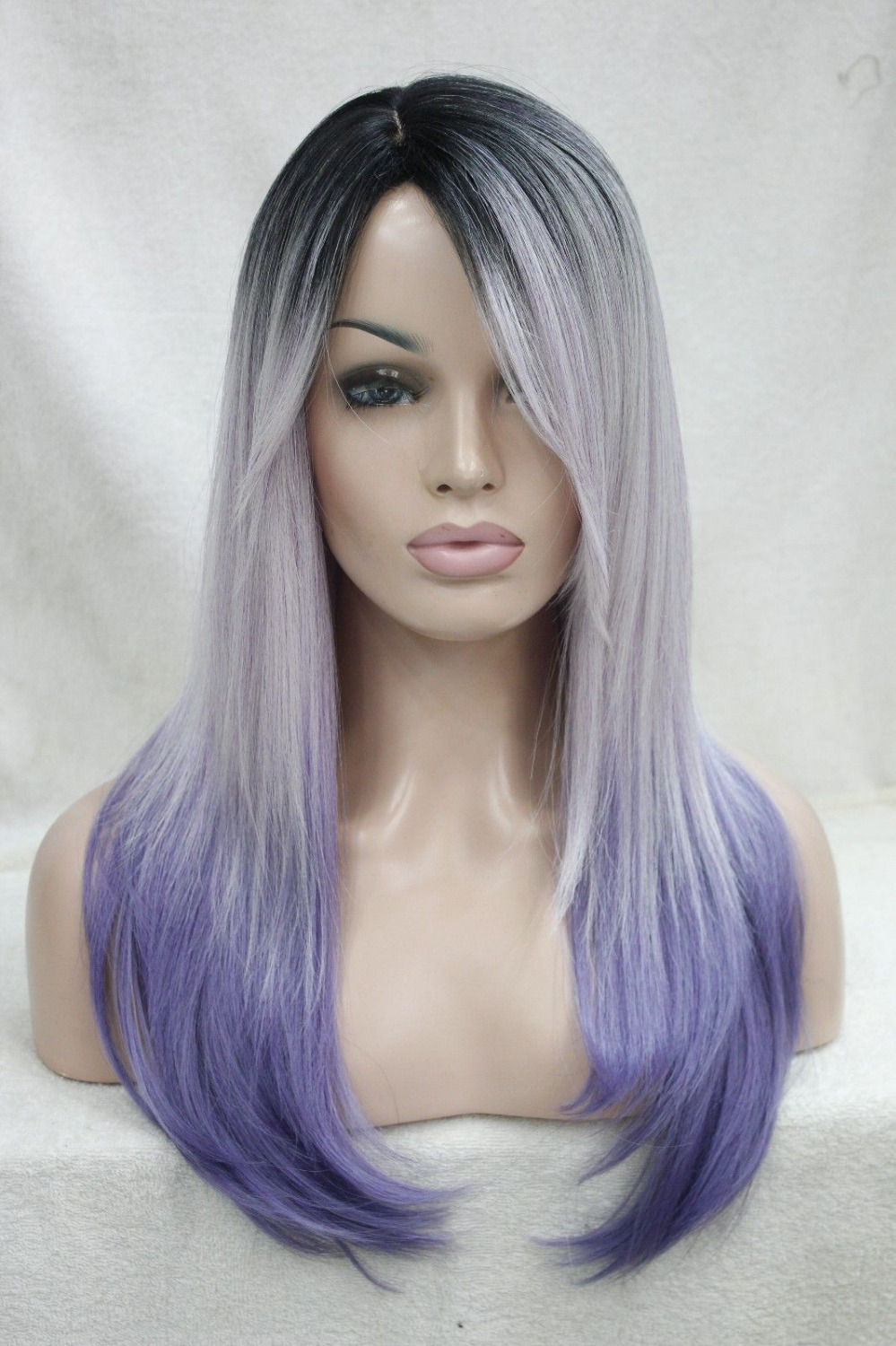 0000120 Heat Ok Ombre Black Root With White And Purple Mix