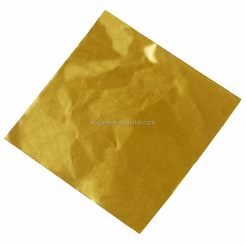 Custom logo Bright glossy Gold color aluminum foil for chocolate bar wrapping China supplier
