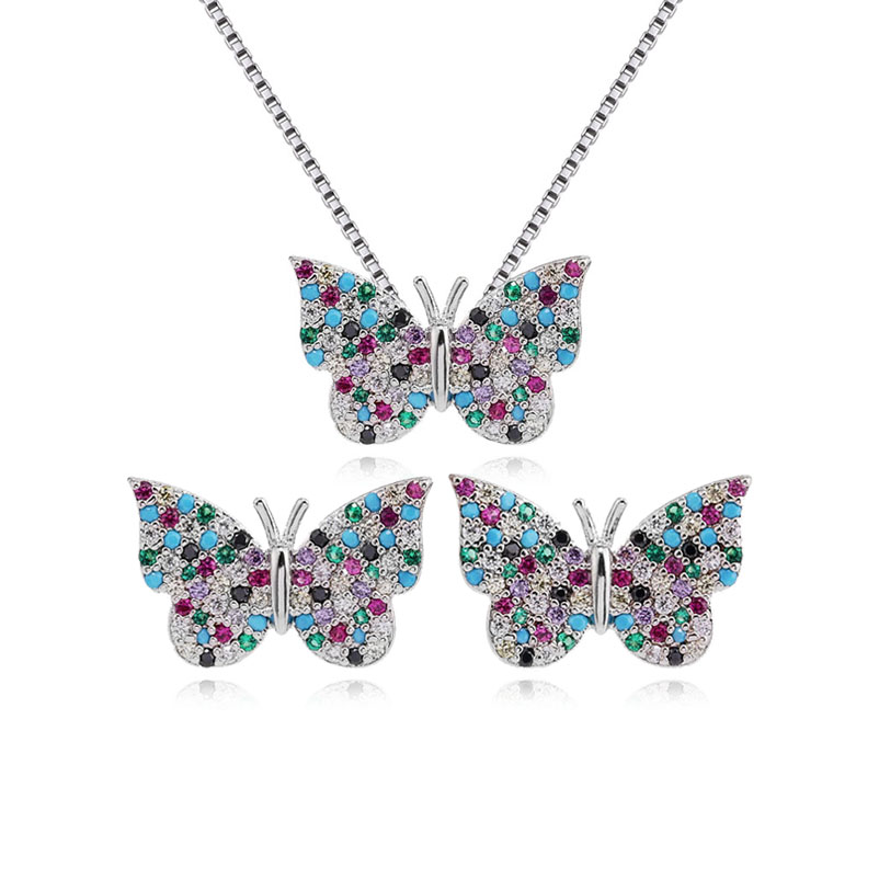 micro pave zirconia colored butterfly necklace and earrings jewelry set