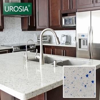 White Mist Quartz Stone Kitchen Countertop Color With Blue Onyx Sparkle Tiles