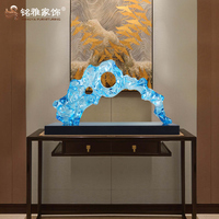 Home deco colorful transparent resin crafts abstract blue sculpture for sales