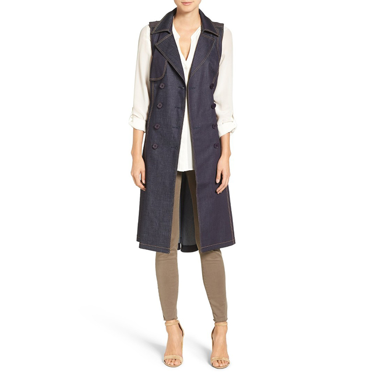 Sleeveless design long denim coat for women ladies popular winter apparel