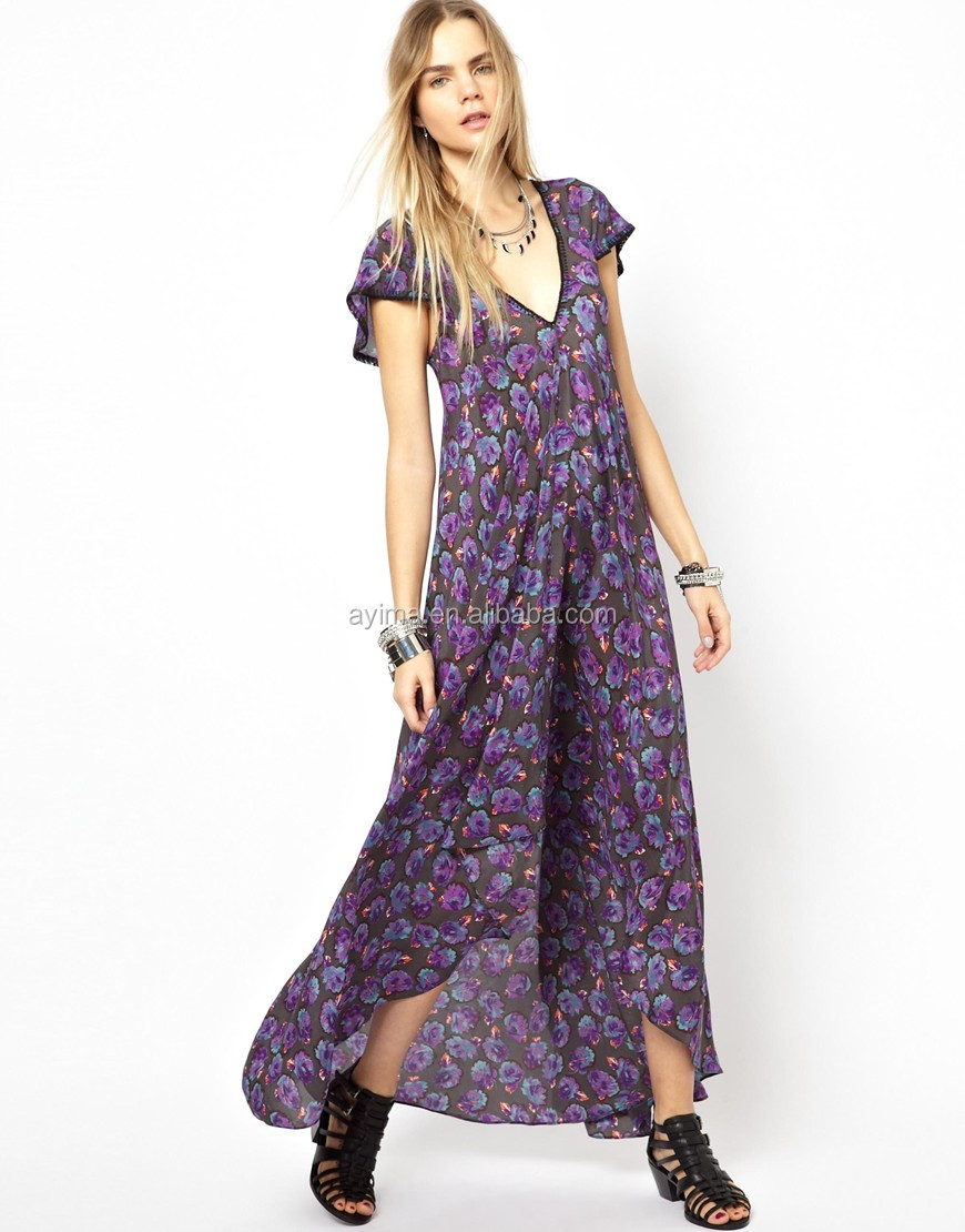 casual plus size maxi dress chiffon floral short sleeve long back ...